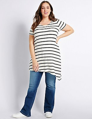 PLUS Striped Asymmetric Tunic, WHITE MIX, catlanding