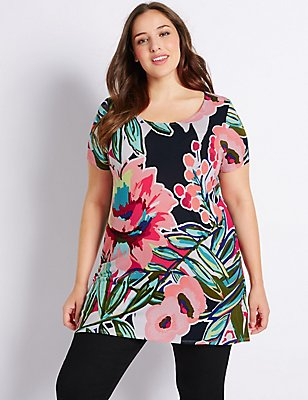 PLUS Floral Print Short Sleeve Tunic , MULTI, catlanding