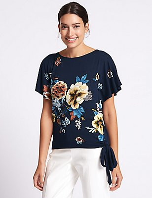 Floral Print Tie Side Flared Sleeve Blouse, NAVY MIX, catlanding
