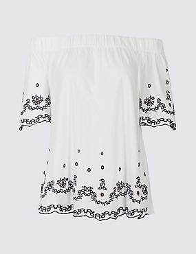 Pure Cotton Embroidered Bardot Top, IVORY MIX, catlanding
