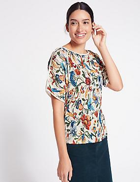 Floral Print Plisse Split Sleeve T-Shirt, IVORY MIX, catlanding