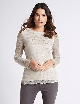 Metallic Lace Long Sleeve T-Shirt, SILVER MIX, catlanding