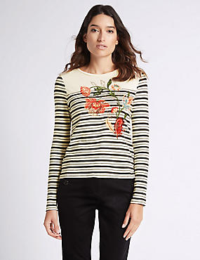 Pure Cotton Striped & Embroidered T-Shirt, BLACK MIX, catlanding