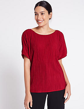 Plisse Slash Neck Split Sleeve T-Shirt, RED, catlanding