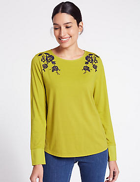 Pure Cotton Embroidered Long Sleeve T-Shirt, OCHRE, catlanding