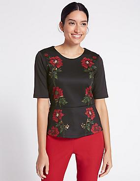 Embellished Mirror Floral Print T-Shirt, BLACK MIX, catlanding
