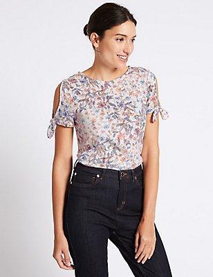 T-shirt à imprimé fleuri effet dévoré avec noeud aux manches, IVOIRE ASSORTI, catlanding