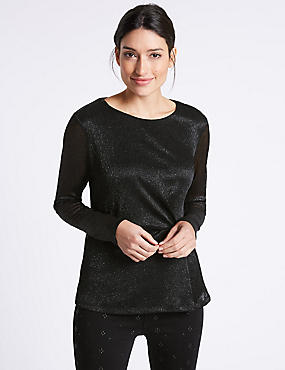 Metallic Side Pleat Long Sleeve Top, BLACK, catlanding