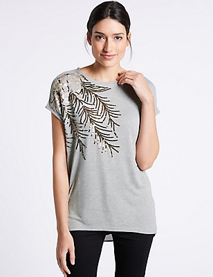 Embellished Sparkly Short Sleeve T-Shirt, GREY MIX, catlanding