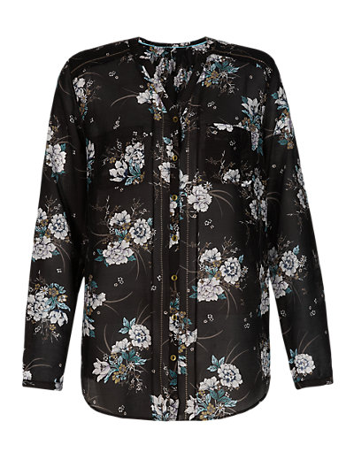 Floral Peasant Shirt with Silk Clothing