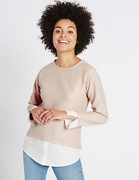 Boucle Foil Mock Hem Long Sleeve T-Shirt, BLUSH, catlanding