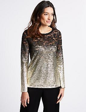 Lace Ombre Foil Long Sleeve Top, GOLD, catlanding