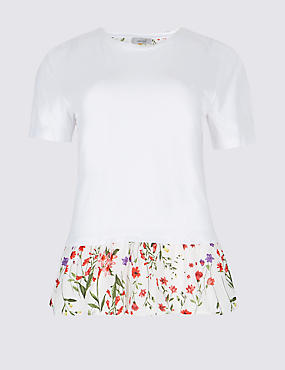 Cotton Rich Printed Short Sleeve T-Shirt, IVORY MIX, catlanding