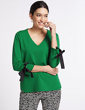 Bow Tie Sleeve V-Neck T-Shirt, GREEN MIX, catlanding