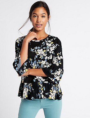 Pure Cotton Floral Print Peplum Shell Top, NAVY MIX, catlanding