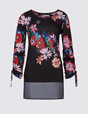 Embellished Beaded Front Long Sleeve Tunic, BLACK MIX, catlanding