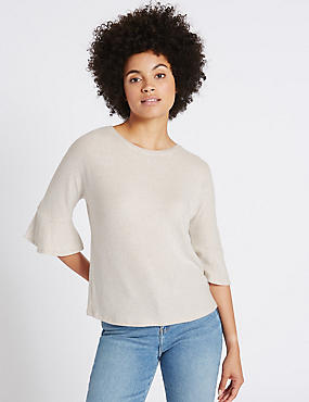 Round Neck Frill Sleeve Top, OATMEAL, catlanding