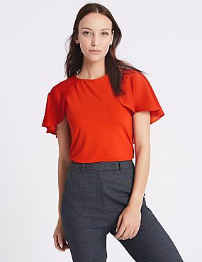 Round Neck Petal Sleeve T-Shirt, PAPRIKA, catlanding