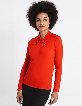 T-shirt à manches longues et col rond, avec noeud avant, PAPRIKA, catlanding