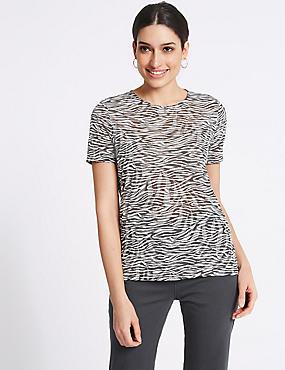 Zebra Print Round Neck Short Sleeve T-Shirt, IVORY MIX, catlanding