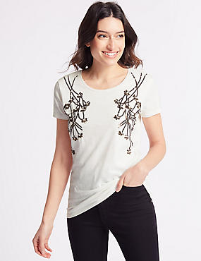 Cotton Rich Embellished Branch Front T-Shirt, IVORY MIX, catlanding