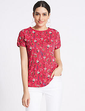 Cotton Blend Printed Short Sleeve T-Shirt, BRIGHT PINK MIX, catlanding