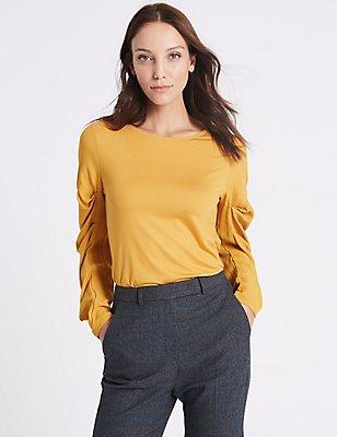 Round Neck Ruched Sleeve T-Shirt, OCHRE, catlanding