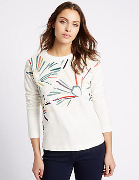 Pure Cotton Embroidered Jersey Top, IVORY MIX, catlanding