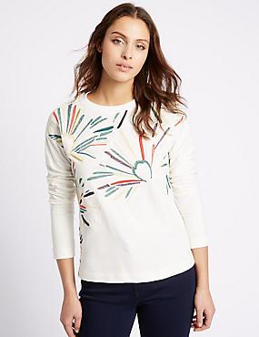 Pure Cotton Embroidered Sweatshirt, IVORY MIX, catlanding