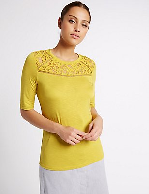 Geometric Lace Panel Half Sleeve Jersey Top, LIME, catlanding