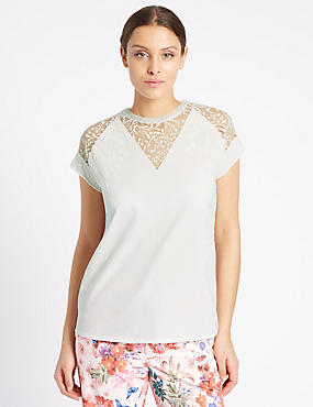 Cotton Rich Floral Burnout T-Shirt, SOFT WHITE, catlanding