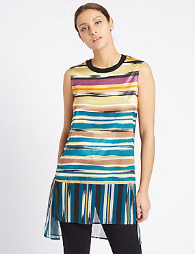 Striped Dipped Hem Sleeveless Tunic, MULTI, catlanding