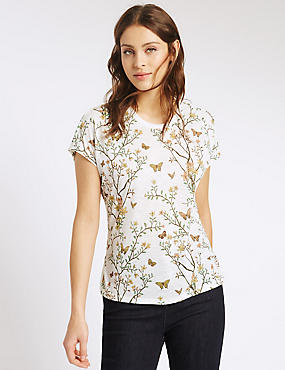 Butterfly & Floral Print T-Shirt, WHITE MIX, catlanding