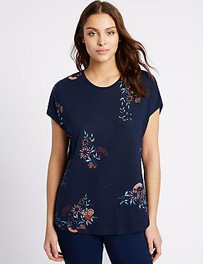 Cotton Blend Floral Print T-Shirt, NAVY MIX, catlanding