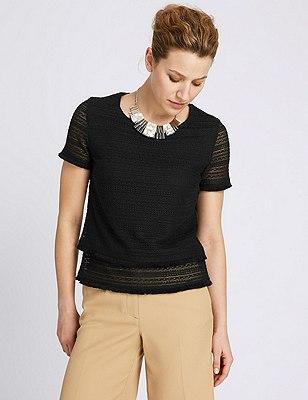 Double Layer Textured Top, BLACK, catlanding