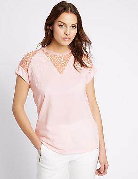 Cotton Rich Lace Insert V-Neck Jersey Top, PALE PINK, catlanding