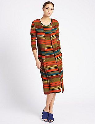 Striped 2 Pocket Long Sleeve Cardigan, MULTI, catlanding