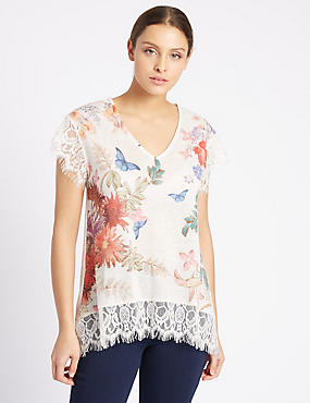 Floral Print V-Neck Short Sleeve Jersey Top, NATURAL MIX, catlanding