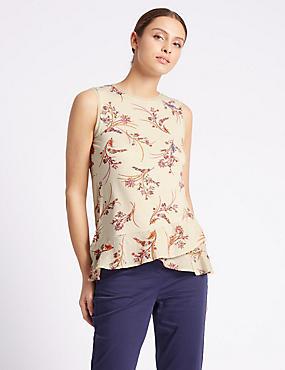 Pure Cotton Paisley Print Jersey Top, NATURAL MIX, catlanding