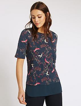 Crane & Floral Print Half Sleeve T-Shirt, NAVY MIX, catlanding