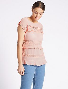 Cotton Blend Short Sleeve Jersey Top, PALE PINK, catlanding