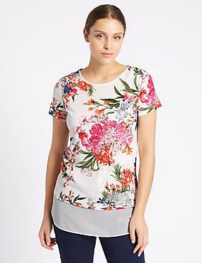 Cotton Blend Floral Print Jersey Top, IVORY MIX, catlanding
