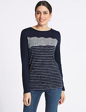 Striped Lace Trim Long Sleeve T-Shirt, NAVY MIX, catlanding