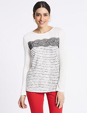 Striped Lace Trim Long Sleeve T-Shirt, IVORY MIX, catlanding