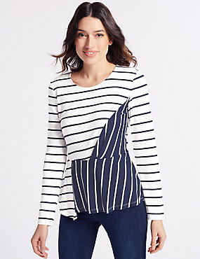 Striped Twisted Long Sleeve T-Shirt , NAVY MIX, catlanding