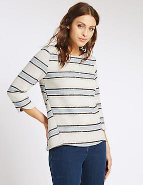 Twill Striped 3/4 Sleeve T-Shirt, IVORY MIX, catlanding