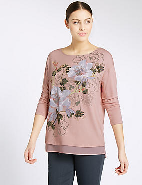 Floral Print Slash Neck Long Sleeve T-Shirt, COPPER ROSE, catlanding