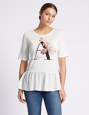 Modal Blend Graphic Print T-Shirt, PALE PINK, catlanding