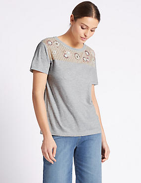 Cotton Rich Embroidered Lace Yoke T-Shirt, GREY MARL, catlanding