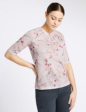 Floral Print Short Sleeve T-Shirt, PINK MIX, catlanding